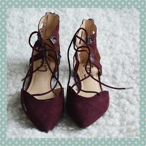 NWOT Circus by Sam Edelman Burgundy Lace Up Flats